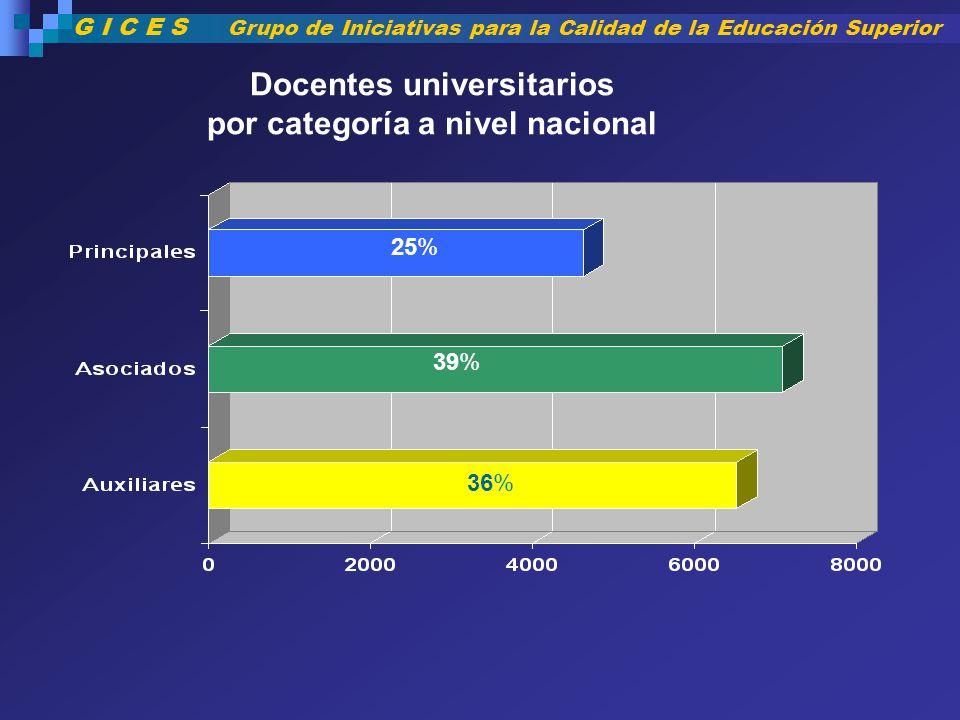 Docentes universitarios por categoría a nivel nacional