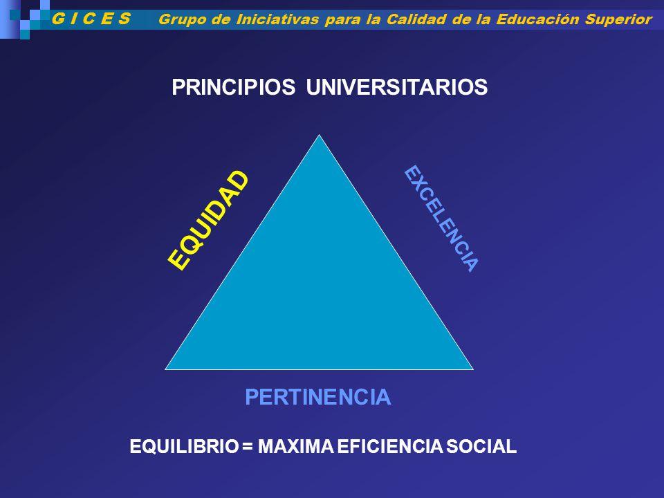 EQUIDAD PRINCIPIOS UNIVERSITARIOS PERTINENCIA EXCELENCIA