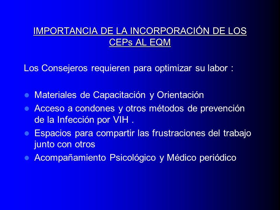 IMPORTANCIA DE LA INCORPORACIÓN DE LOS CEPs AL EQM