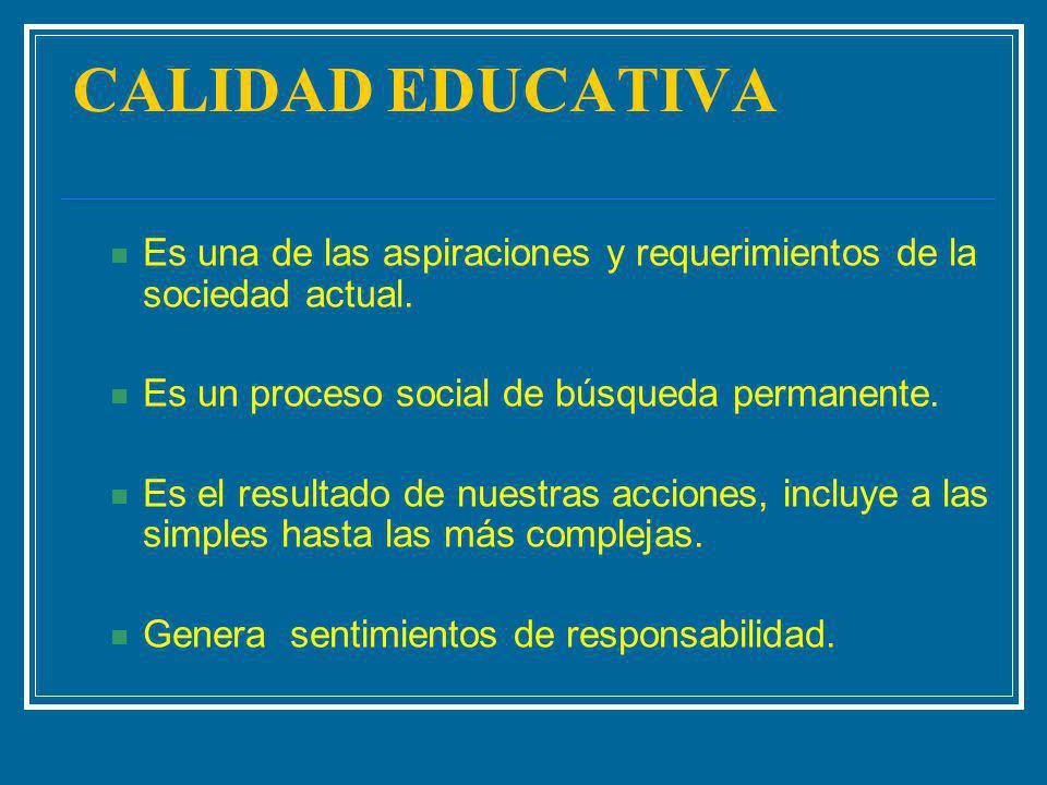 CALIDAD EDUCATIVA Es una de las aspiraciones y requerimientos de la sociedad actual. Es un proceso social de búsqueda permanente.