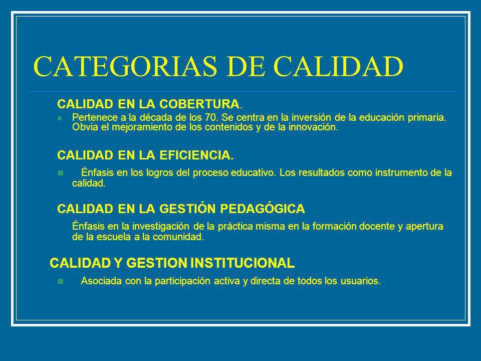 CATEGORIAS DE CALIDAD CALIDAD EN LA COBERTURA.