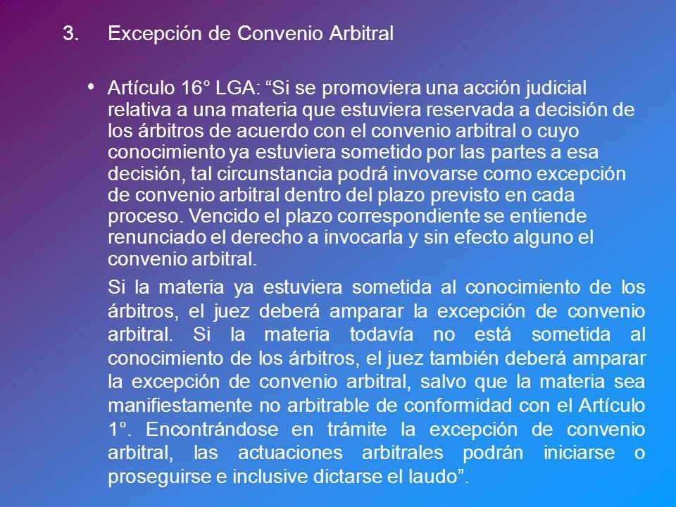 3. Excepción de Convenio Arbitral