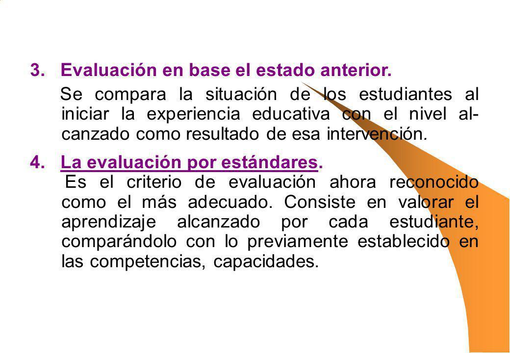 3. Evaluación en base el estado anterior.