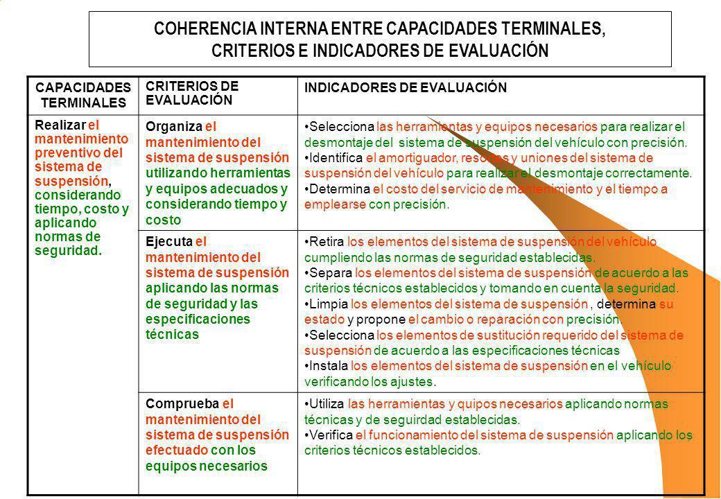 COHERENCIA INTERNA ENTRE CAPACIDADES TERMINALES,