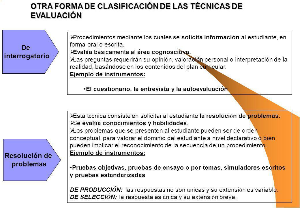 OTRA FORMA DE CLASIFICACIÓN DE LAS TÉCNICAS DE EVALUACIÓN