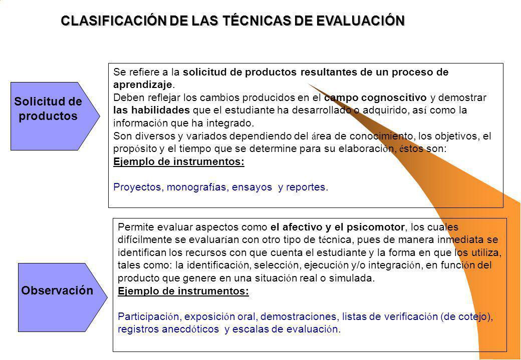 CLASIFICACIÓN DE LAS TÉCNICAS DE EVALUACIÓN