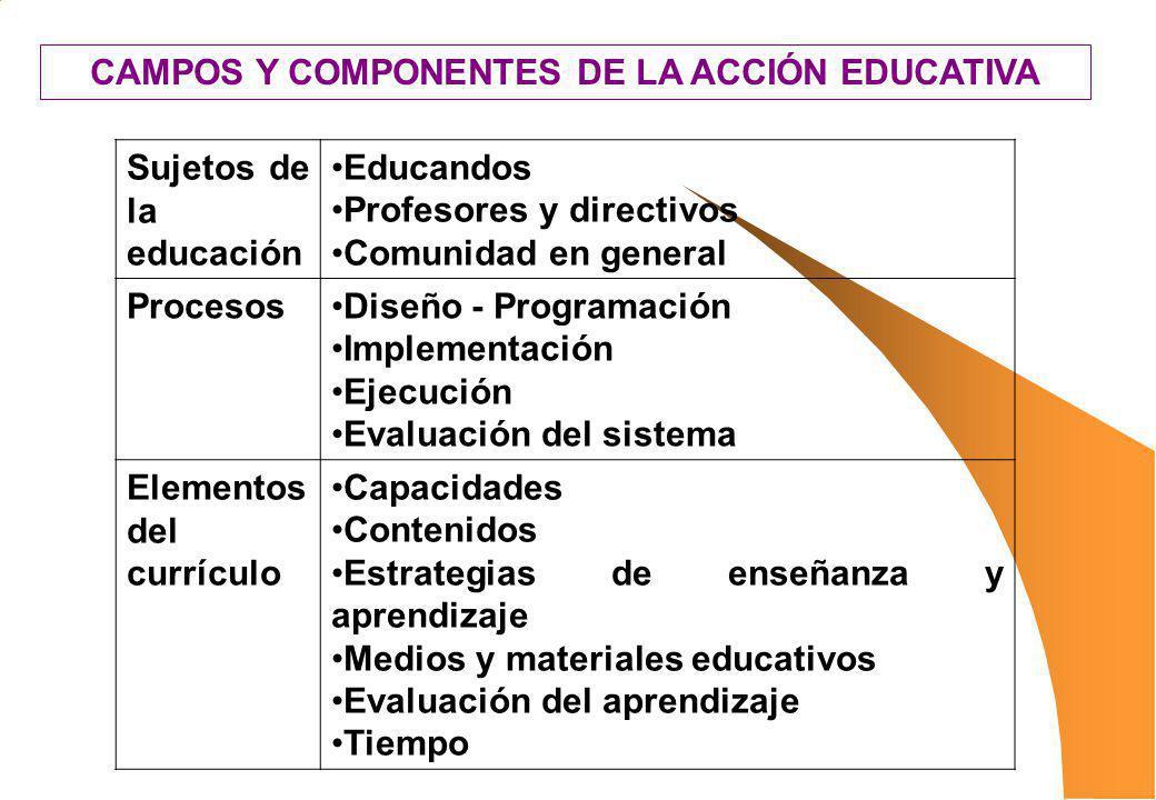 CAMPOS Y COMPONENTES DE LA ACCIÓN EDUCATIVA
