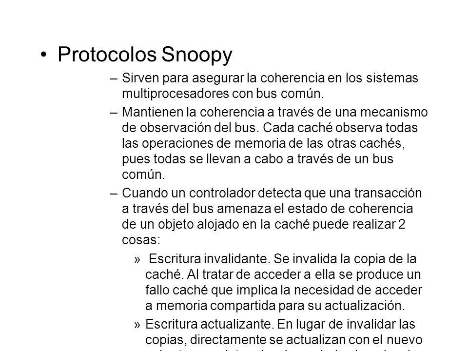 Protocolos Snoopy Sirven para asegurar la coherencia en los sistemas multiprocesadores con bus común.