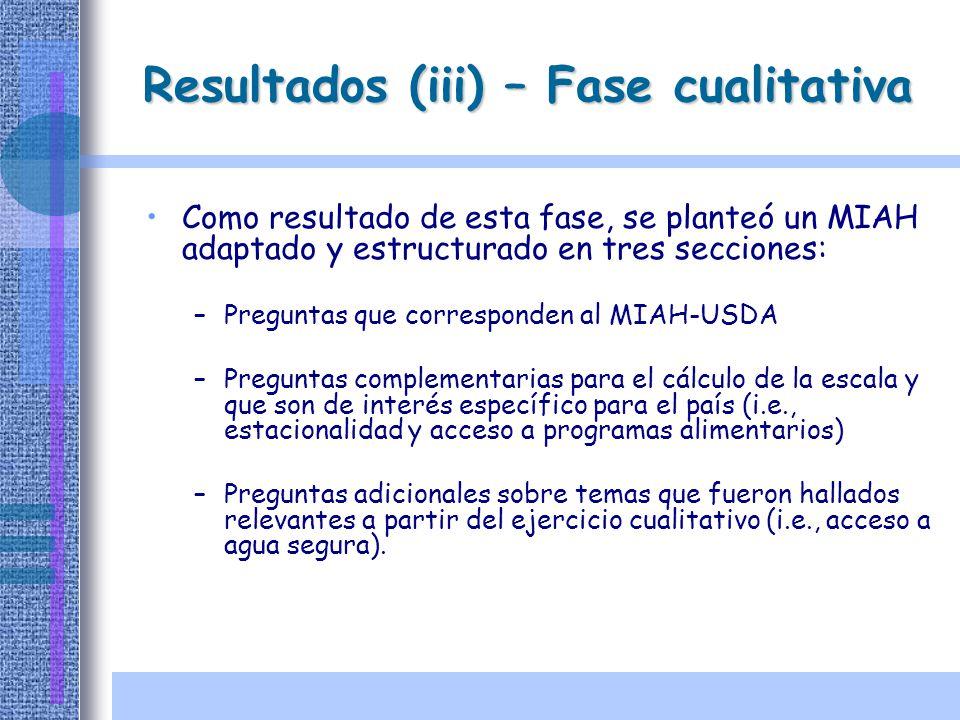 Resultados (iii) – Fase cualitativa