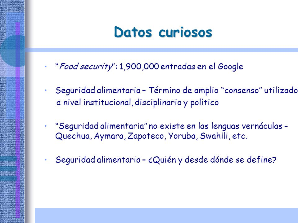 Datos curiosos Food security : 1,900,000 entradas en el Google
