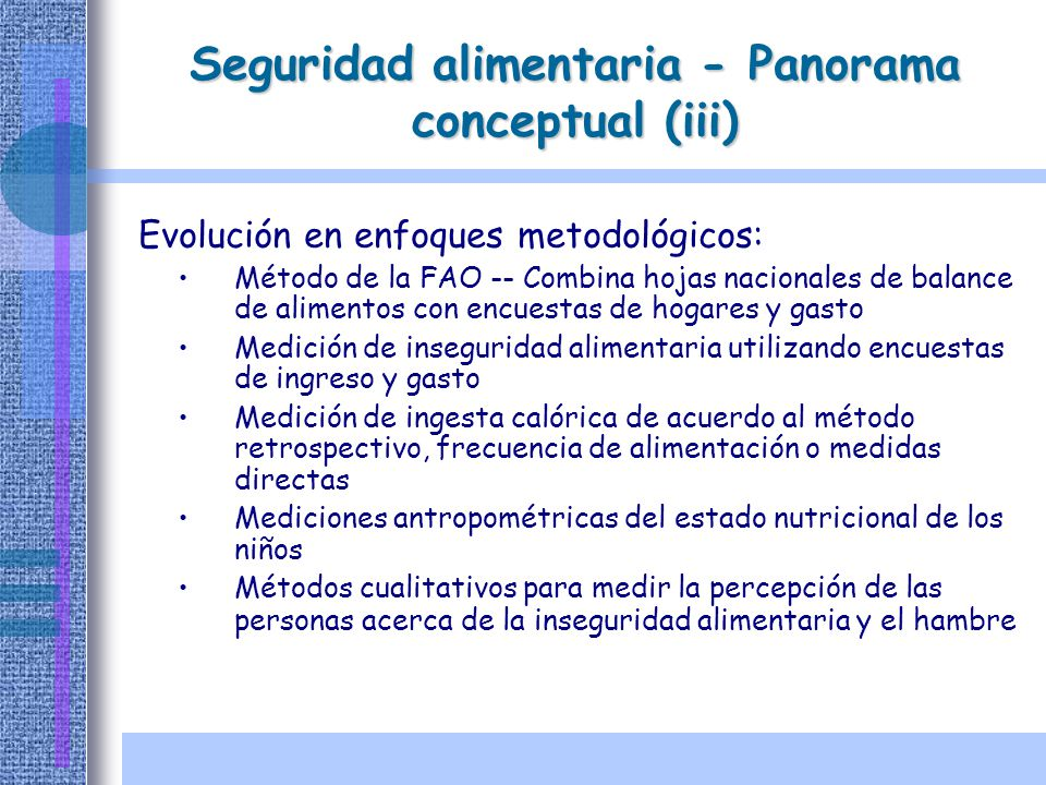 Seguridad alimentaria - Panorama conceptual (iii)