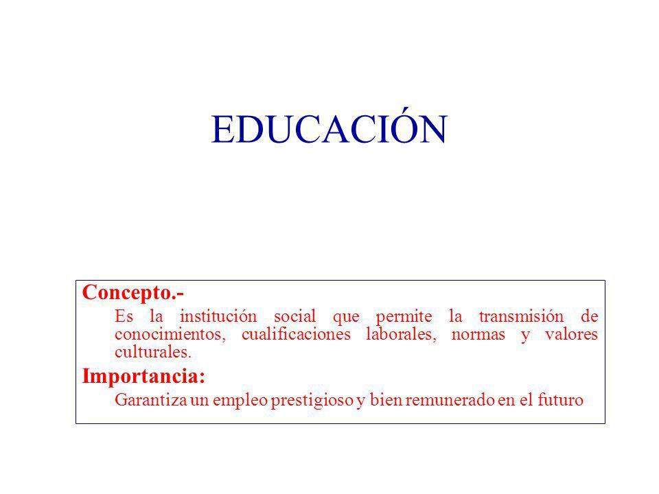 EDUCACIÓN Concepto.- Importancia: