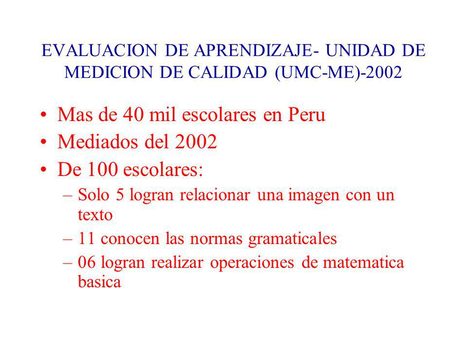 EVALUACION DE APRENDIZAJE- UNIDAD DE MEDICION DE CALIDAD (UMC-ME)-2002