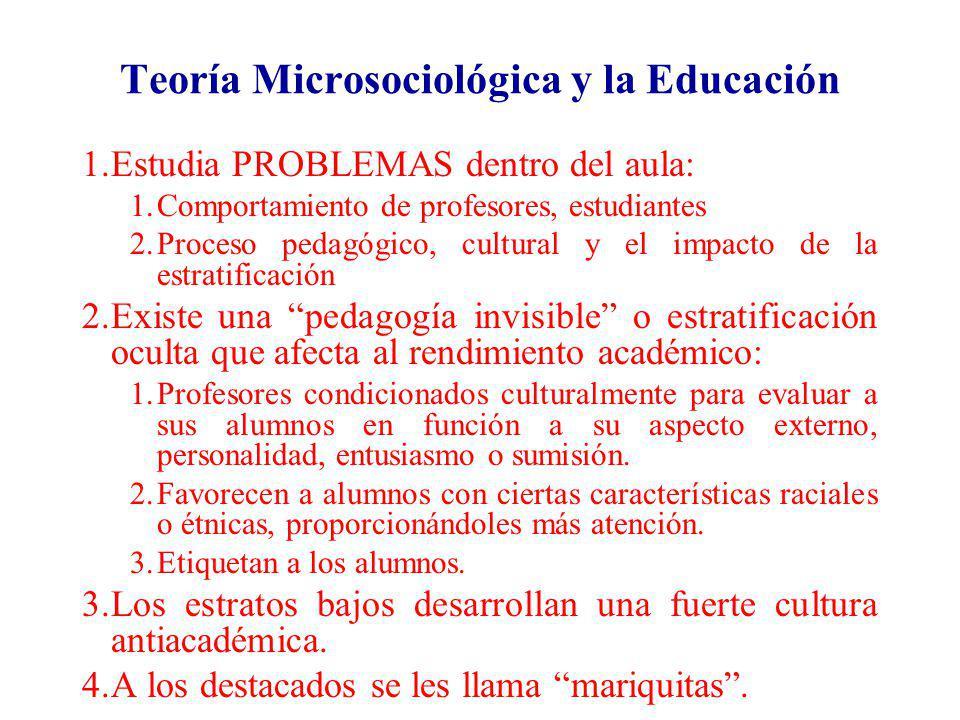 Teoría Microsociológica y la Educación