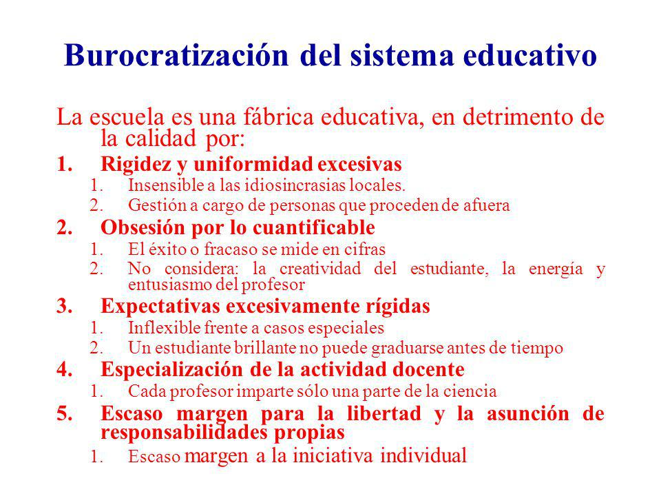 Burocratización del sistema educativo