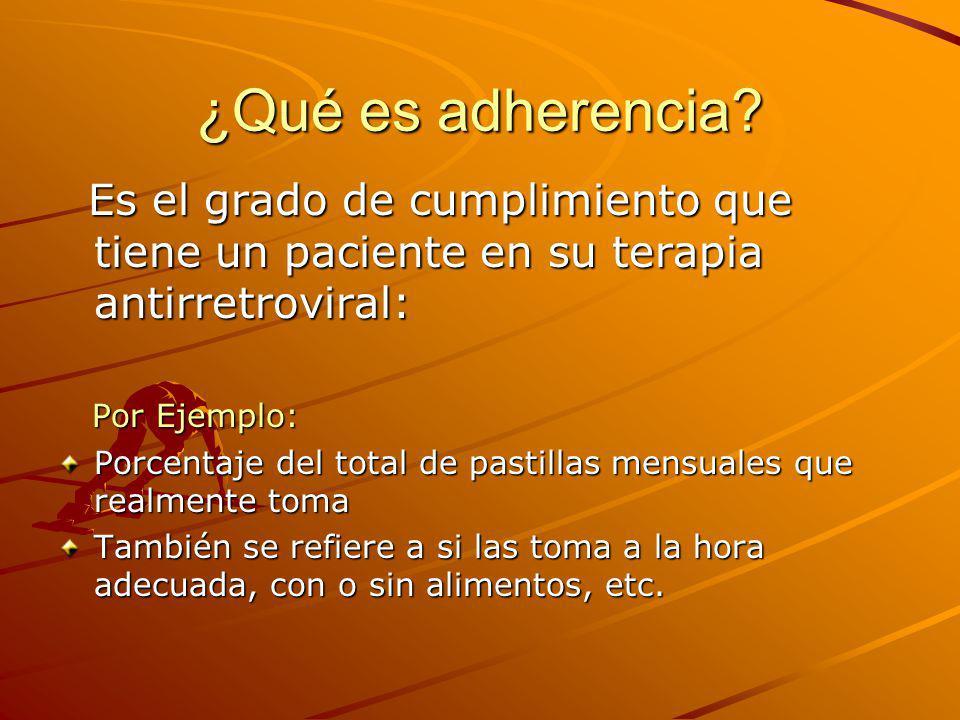 ¿Qué es adherencia Es el grado de cumplimiento que tiene un paciente en su terapia antirretroviral: