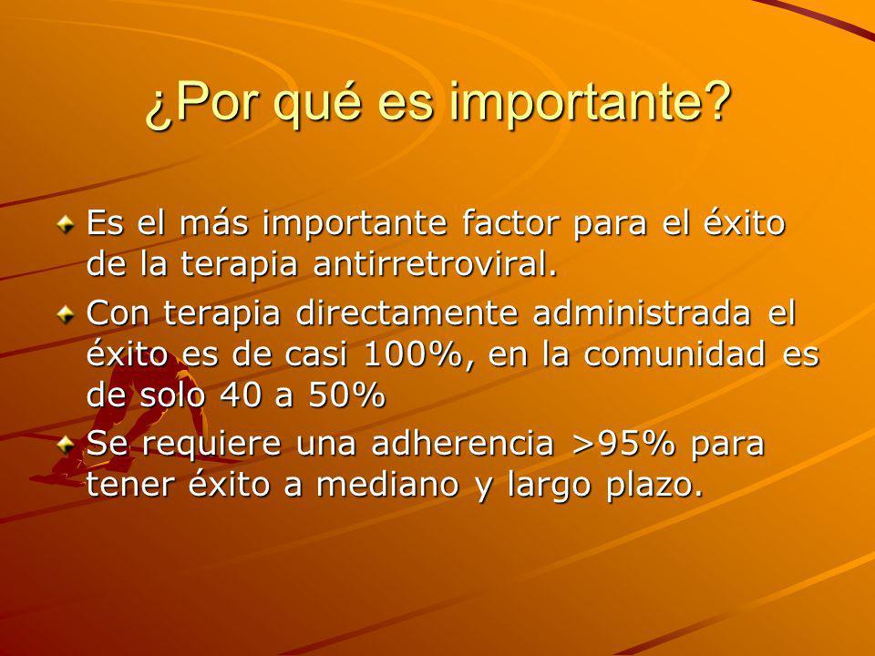 ¿Por qué es importante Es el más importante factor para el éxito de la terapia antirretroviral.