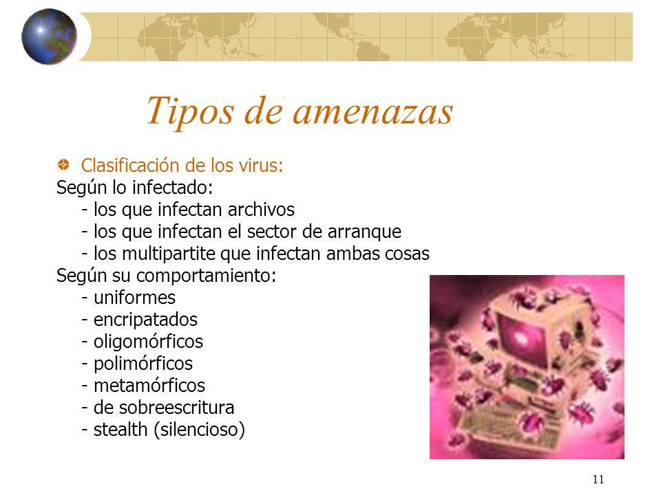 Tipos de amenazas Clasificación de los virus: Según lo infectado: