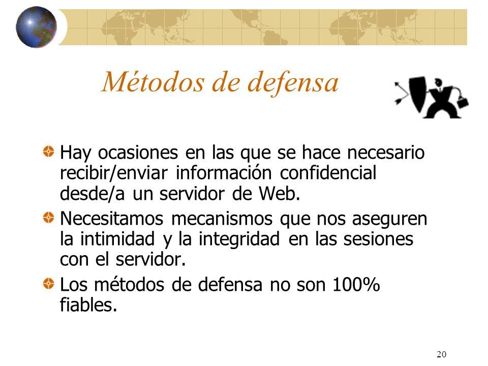 Métodos de defensaHay ocasiones en las que se hace necesario recibir/enviar información confidencial desde/a un servidor de Web.
