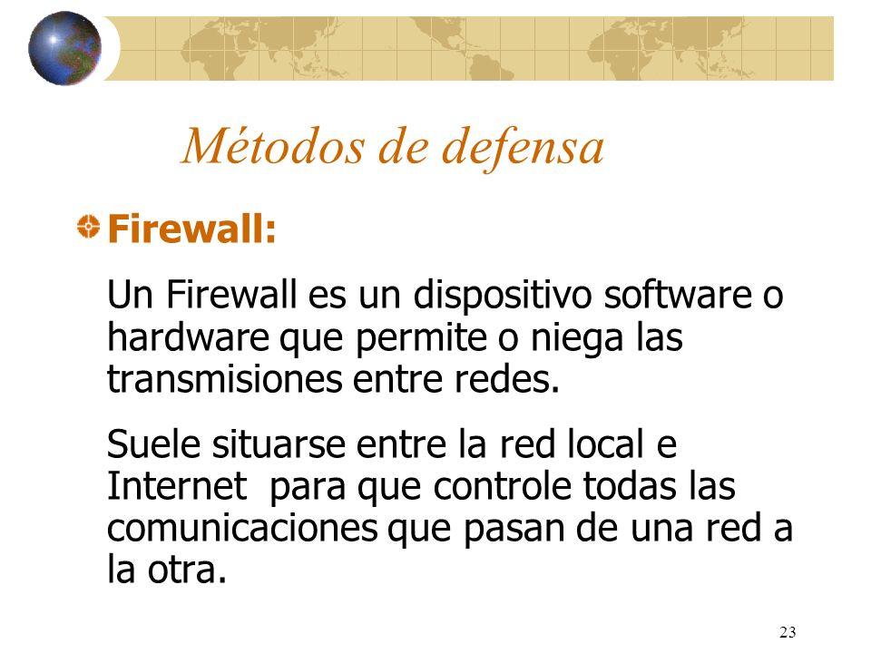 Métodos de defensa Firewall: