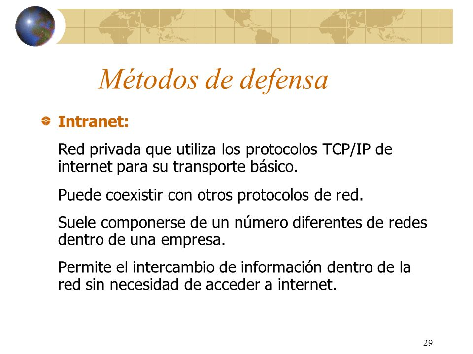 Métodos de defensa Intranet: