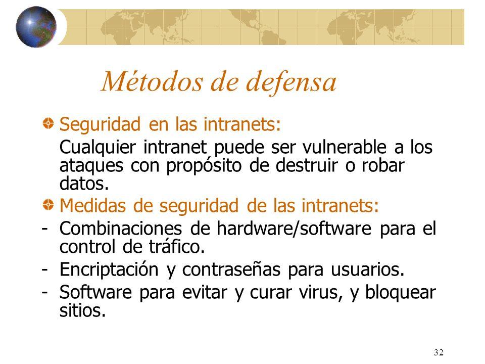 Métodos de defensa Seguridad en las intranets: