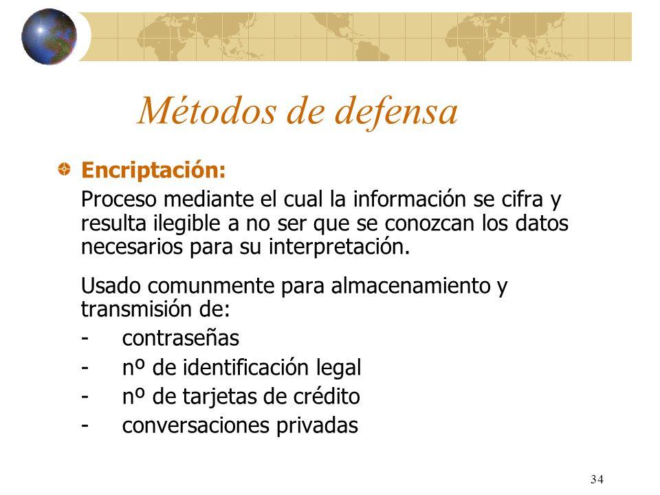 Métodos de defensa Encriptación: