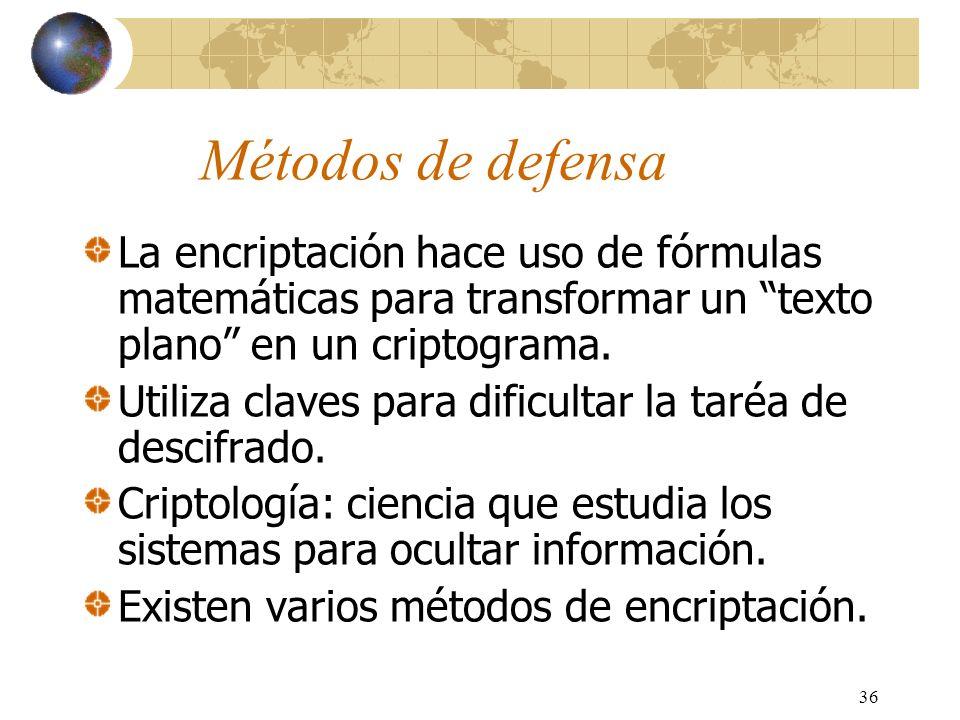 Métodos de defensa La encriptación hace uso de fórmulas matemáticas para transformar un texto plano en un criptograma.
