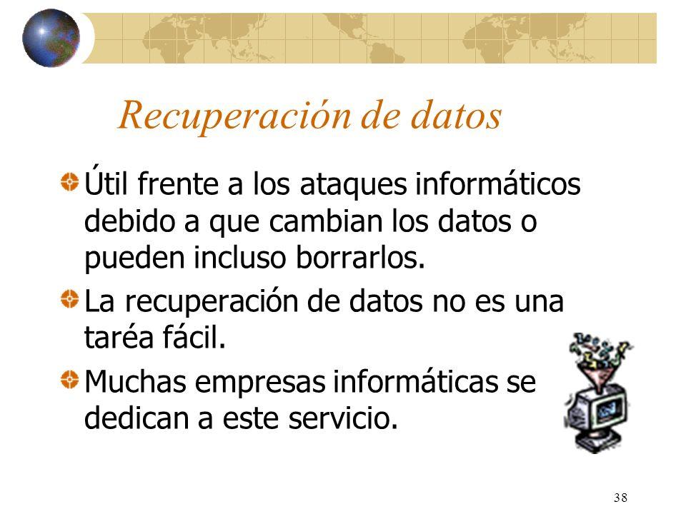 Recuperación de datosÚtil frente a los ataques informáticos debido a que cambian los datos o pueden incluso borrarlos.