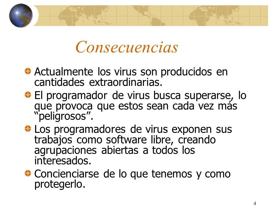 Consecuencias Actualmente los virus son producidos en cantidades extraordinarias.