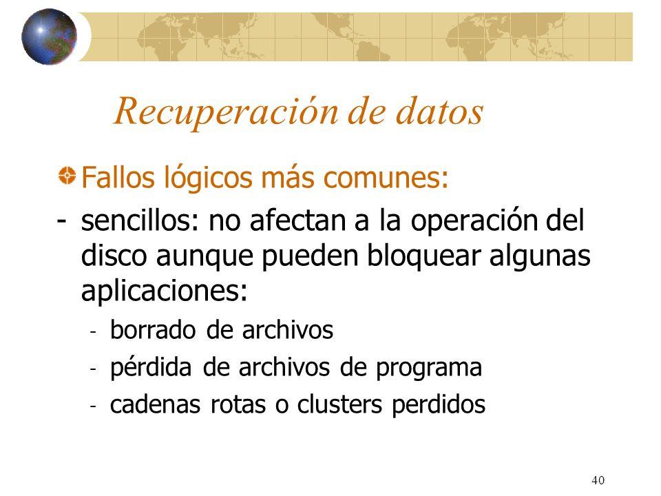 Recuperación de datos Fallos lógicos más comunes: