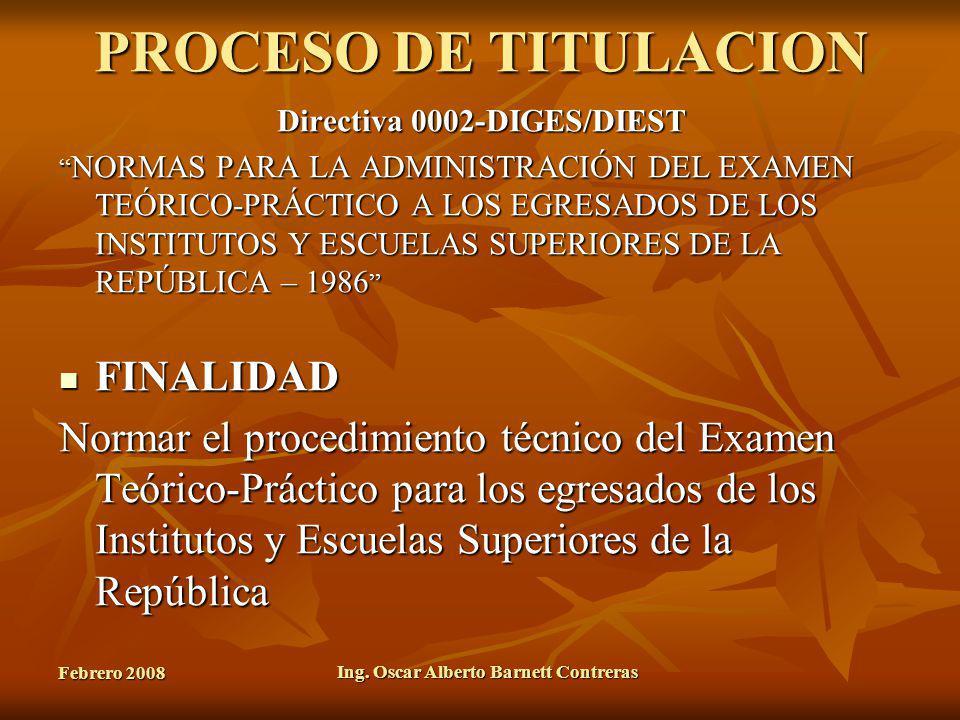 Directiva 0002-DIGES/DIEST Ing. Oscar Alberto Barnett Contreras