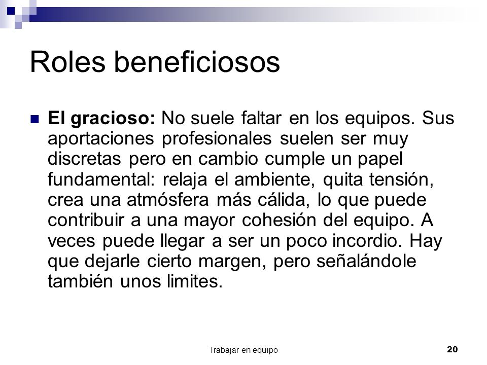Roles beneficiosos