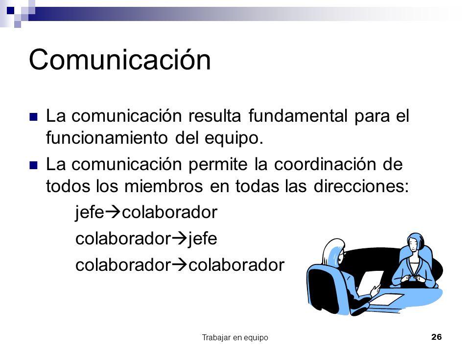 Comunicación La comunicación resulta fundamental para el funcionamiento del equipo.