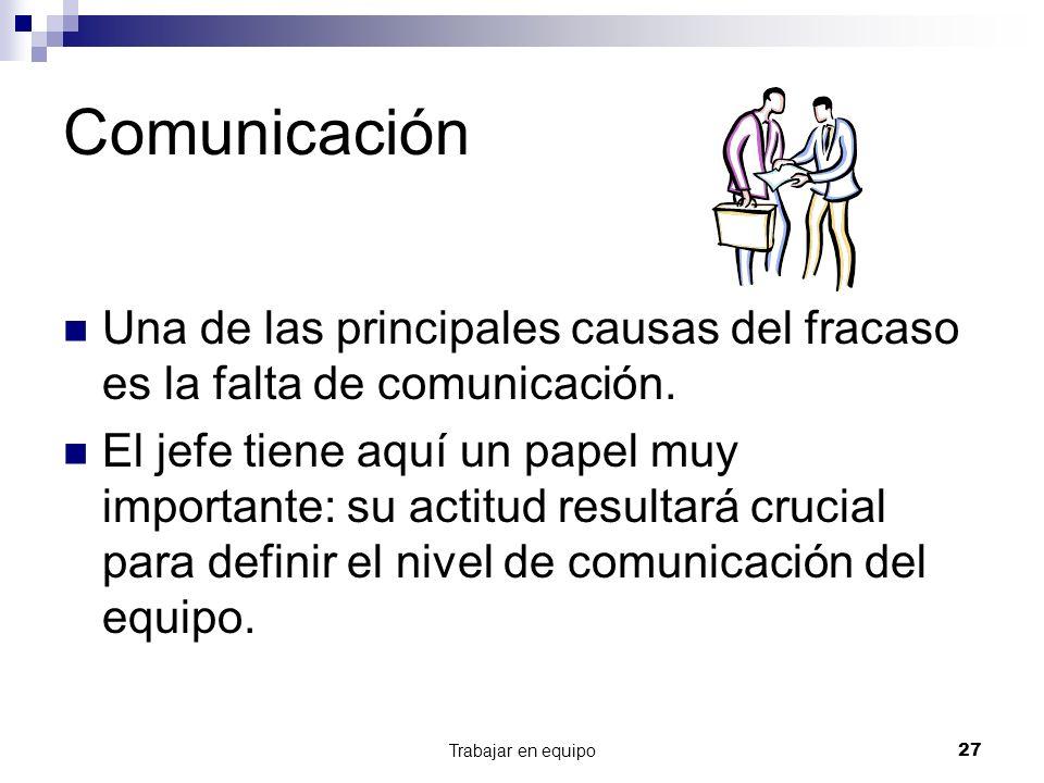 Comunicación Una de las principales causas del fracaso es la falta de comunicación.