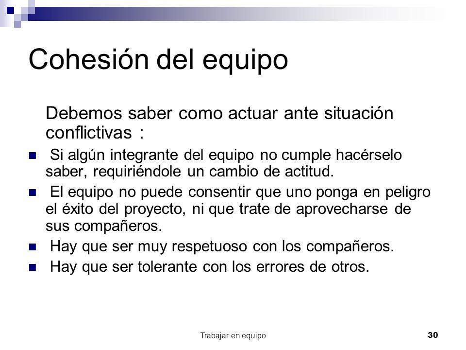Cohesión del equipo Debemos saber como actuar ante situación conflictivas :