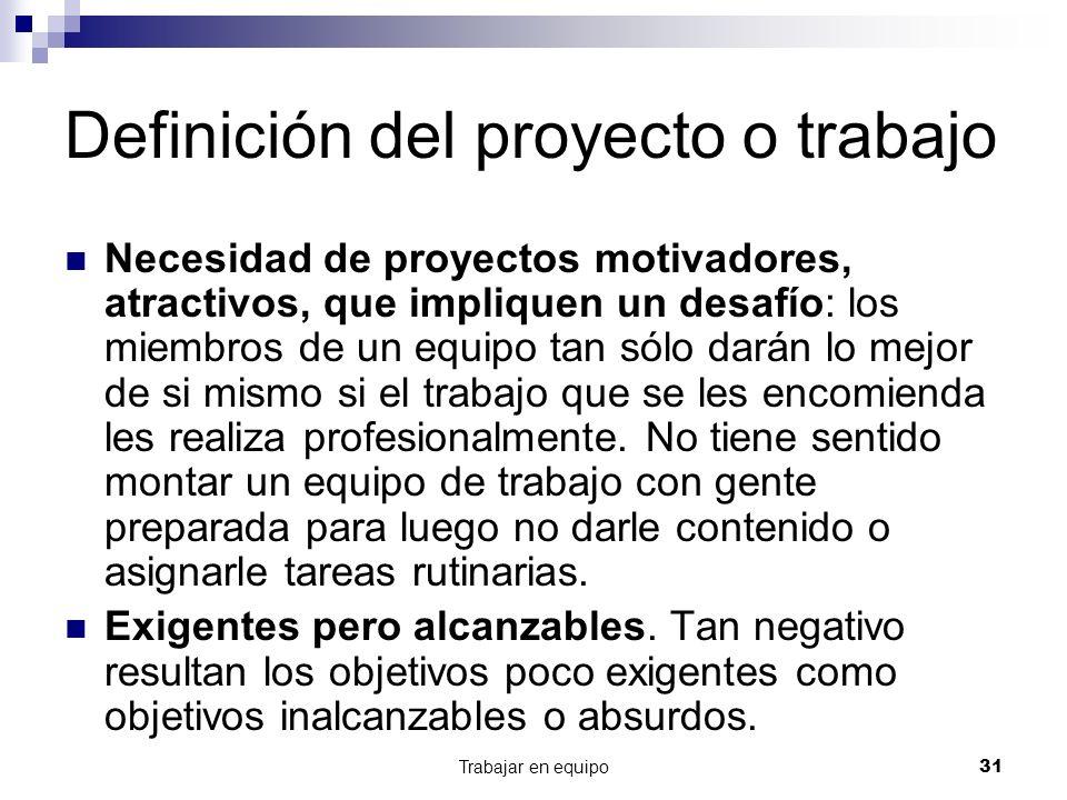 Definición del proyecto o trabajo