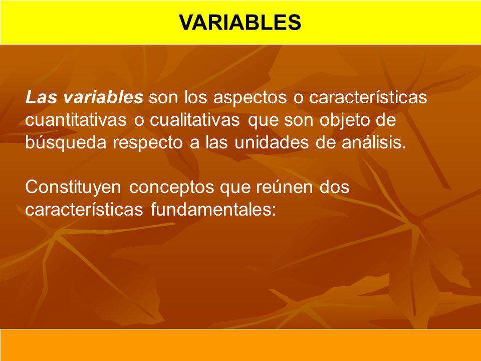 VARIABLES Las variables son los aspectos o características