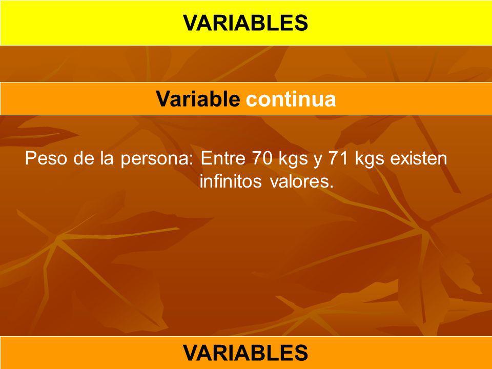 VARIABLES Variable continua VARIABLES