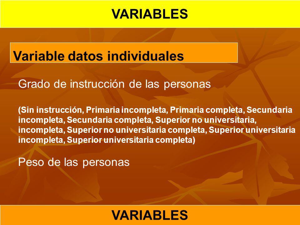 Variable datos individuales