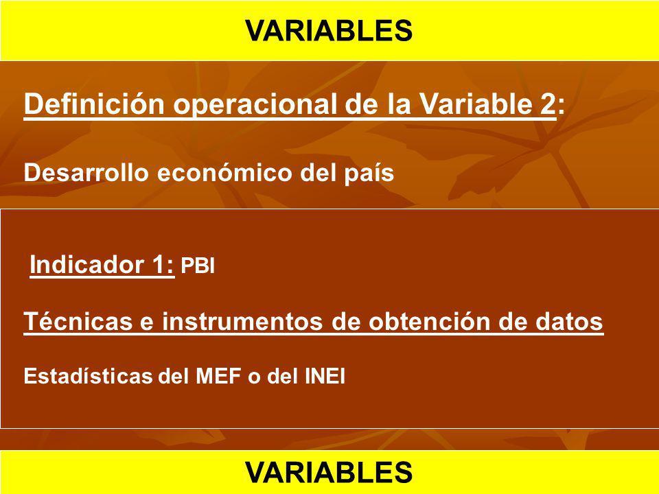 VARIABLES HIPOTESIS CIENTIFICA VARIABLES
