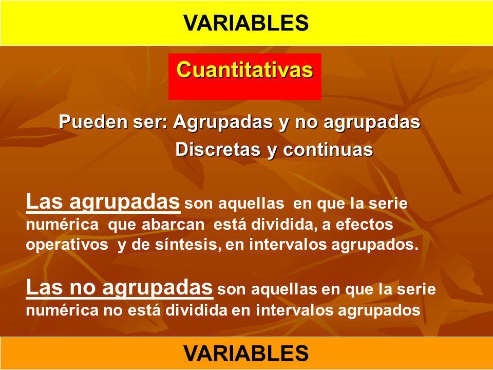 VARIABLES Cuantitativas VARIABLES