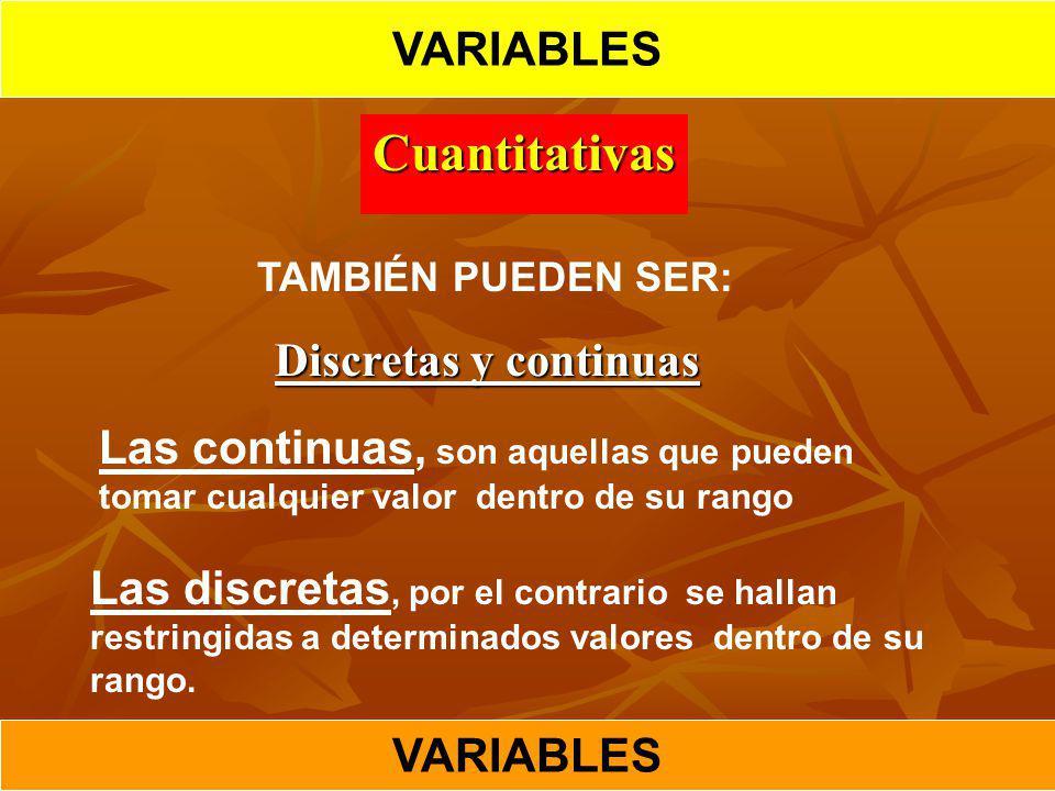 Cuantitativas VARIABLES Discretas y continuas