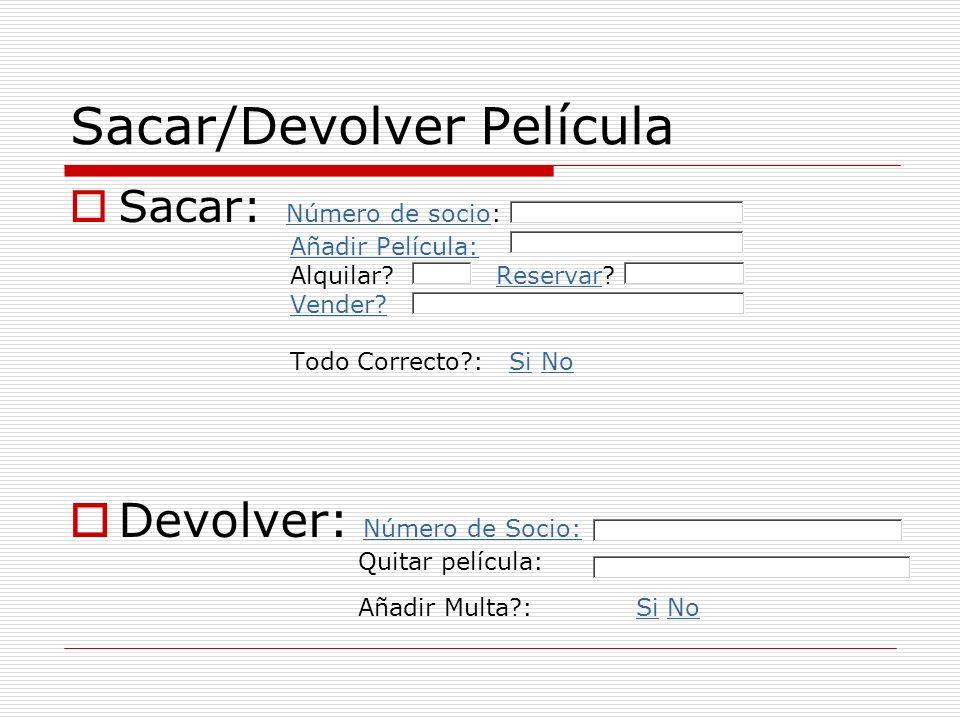 Sacar/Devolver Película