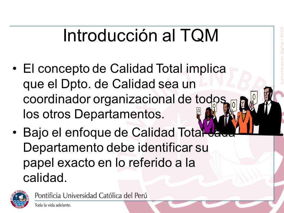 Introducción al TQM El concepto de Calidad Total implica que el Dpto. de Calidad sea un coordinador organizacional de todos los otros Departamentos.