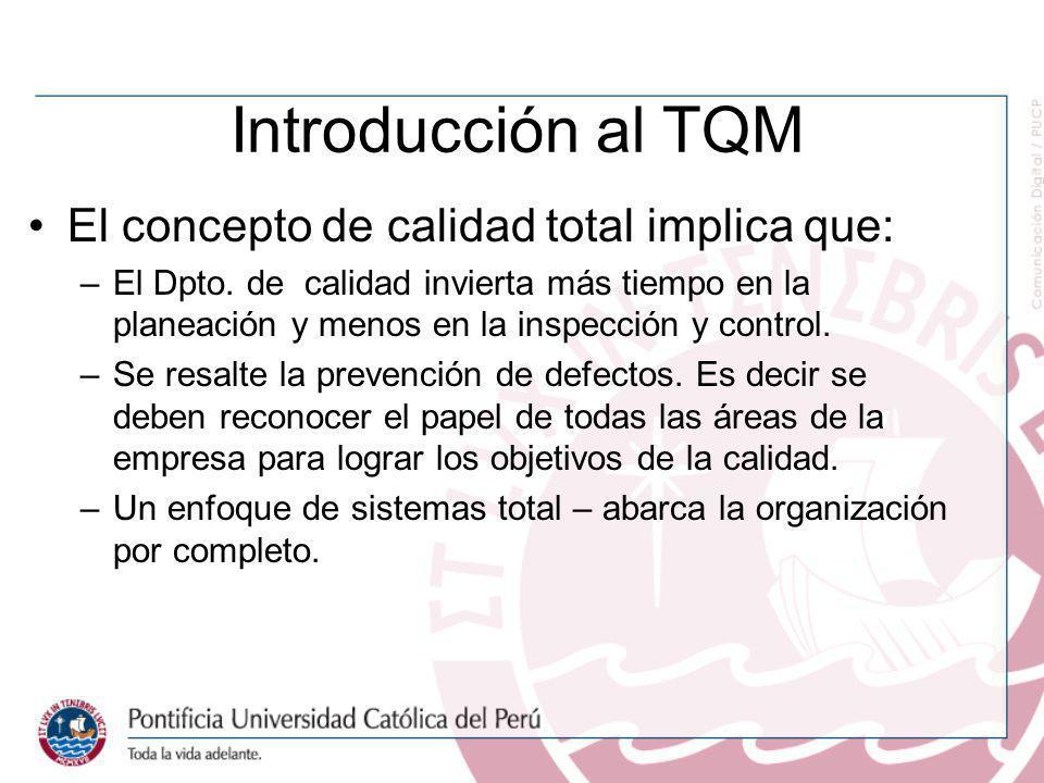 Introducción al TQM El concepto de calidad total implica que:
