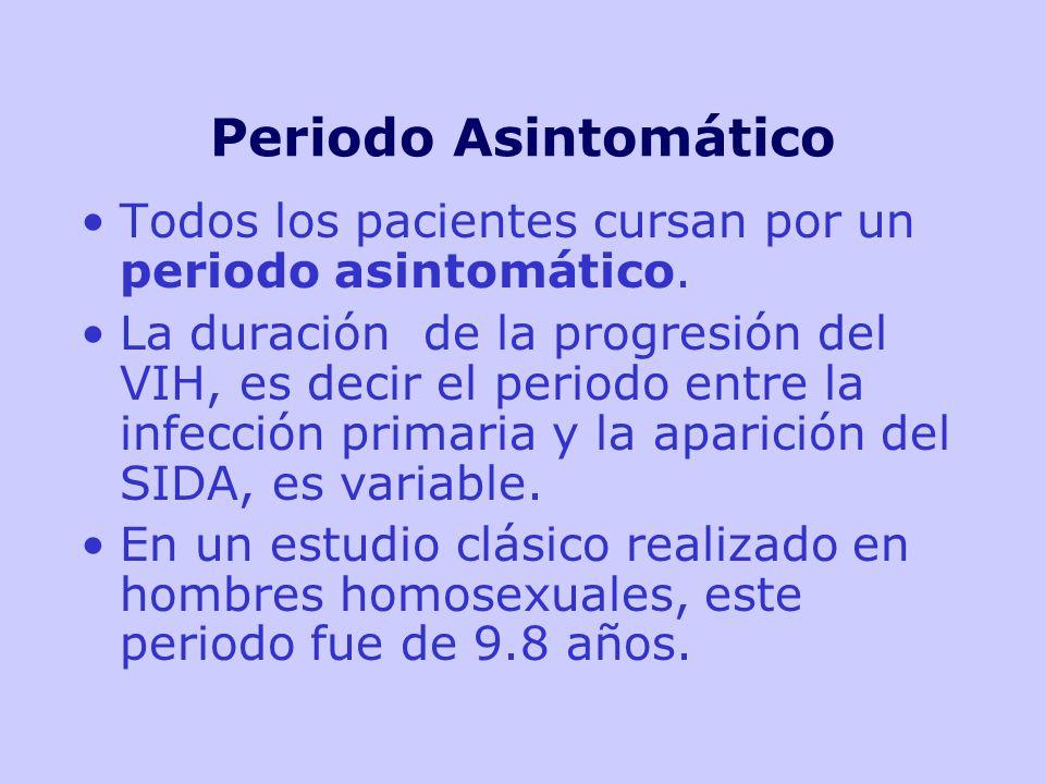 Periodo Asintomático Todos los pacientes cursan por un periodo asintomático.