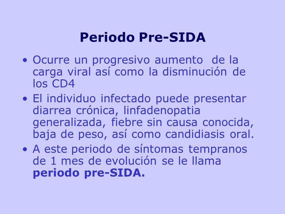 Periodo Pre-SIDA Ocurre un progresivo aumento de la carga viral así como la disminución de los CD4.