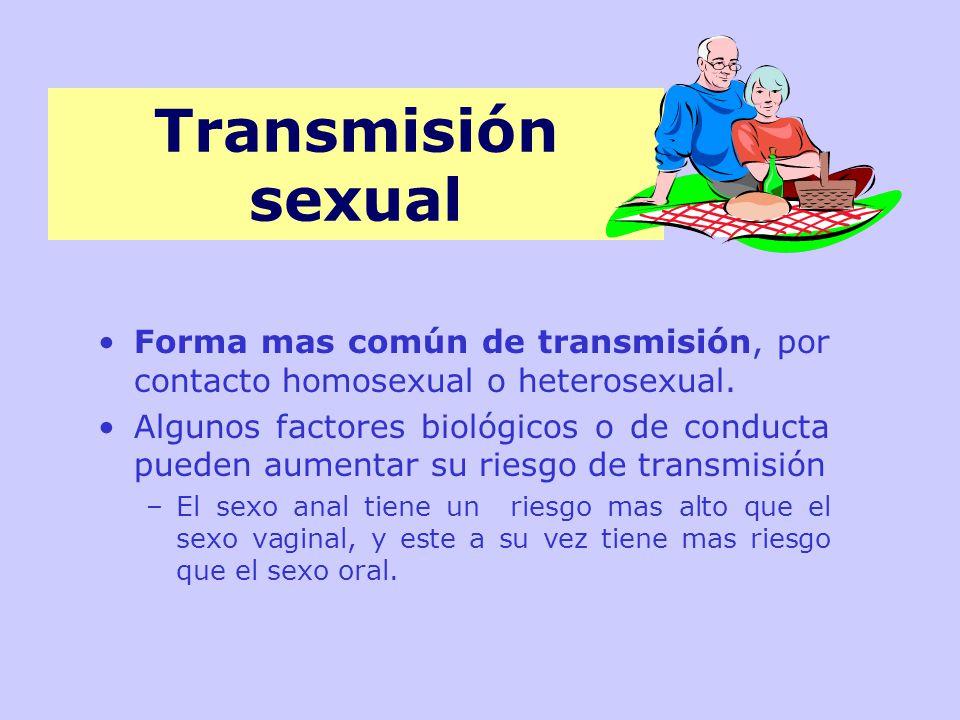 Transmisión sexual Forma mas común de transmisión, por contacto homosexual o heterosexual.