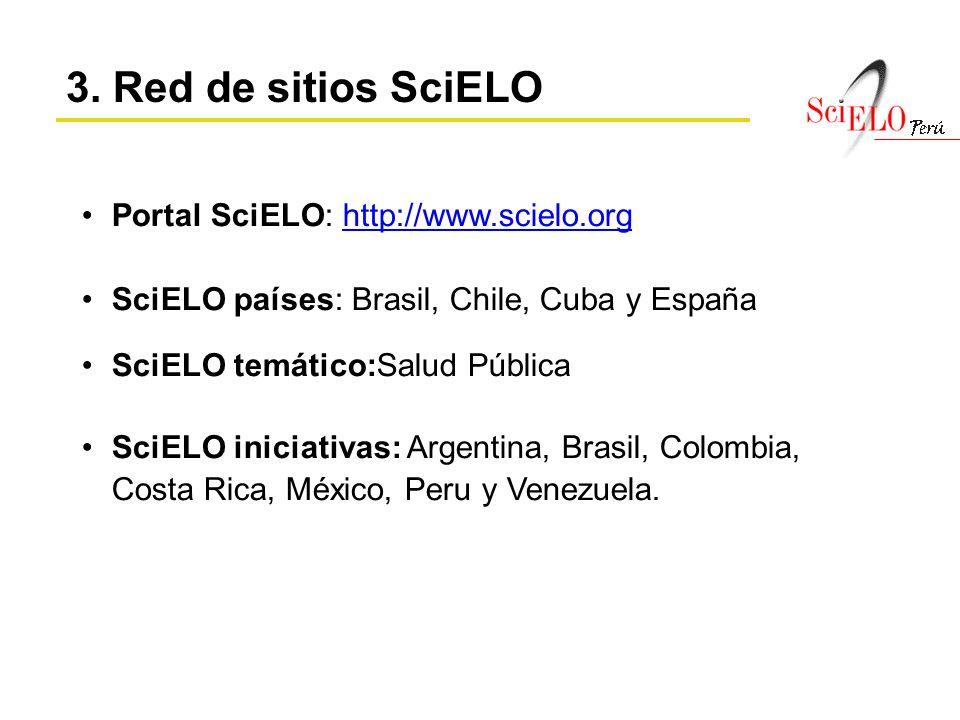 3. Red de sitios SciELO Portal SciELO: http://www.scielo.org
